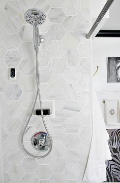 Shower detail with Carrara Marble Hexagon Tile