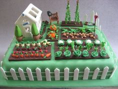 Vegetable Garden Cake birthday cake for a keen gardener. He& also a policeman, hence the helmet on the bench Fancy Cakes, Cute Cakes, Vegetable Garden Cake, Veg Garden, Allotment Cake, Super Torte, Dad Birthday Cakes, 50th Birthday, Garden Birthday Cake