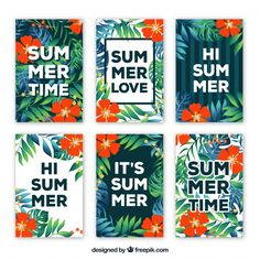 Pack of flowers cards with summer messages Free Vector