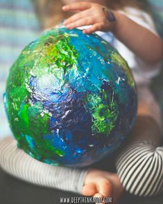 Making paper mache planets #earthdaycrafts