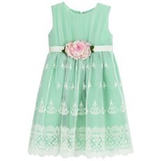 Lesy - Almond green party dress with embroidered tulle - 71971