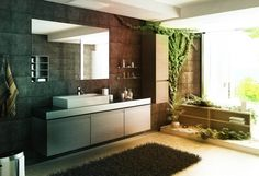 Minimalist Japanese Stylish Bathroom Interior Design Using Wood and Stone Materials : Stoned Wall Fitted With Unframed Vanity Mirror Above R...