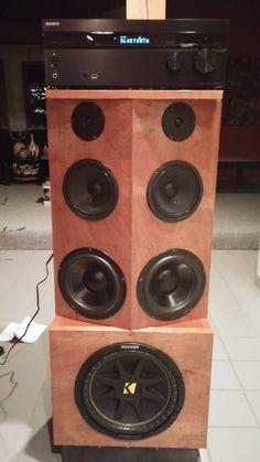 Diy home speaker cabinets Diy Bluetooth Speaker Kit, Speaker Box Diy, Home Stereo Speakers, Speaker Kits, Speaker Box Design, 15 Inch Subwoofer Box, Subwoofer Box Design, Car Audio Battery, Homemade Speakers