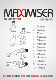 Maximiser Workout / works: quads, chest, triceps, biceps, anaerobic system, aerobic system #fitness #workout #workoutroutine #fit2014