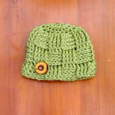 Newborn Crochet Hat Basket Weave Beanie with by GiggledPink