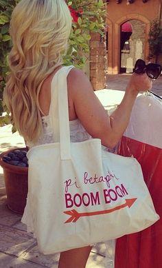 """Pi Phi """"Boom Boom"""" tote! #piphi #pibetaphi"""