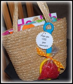 Thursday is the last day of school for the kids. Here is a gift I put together for my daughters teacher. I started with a beach bag. I ad...