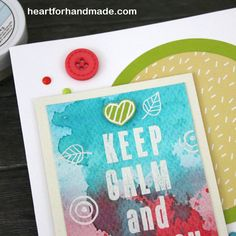 Watercolor background. Used Alpha block stamp set and A Few of my Favorite Things, March kit from Sarah Hurley