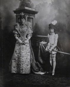 Queen Alexandra as Marguerite de Valois and Louvina Eizabeth Checkley as her page By Lafayette (Lafayette Ltd) Contact print, 1897