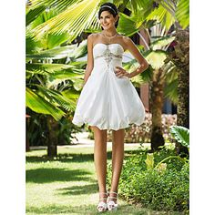 Ball Gown Sweetheart Short/Mini Taffeta Wedding Dress – USD $ 179.99