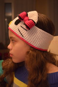 Crochet Hello Kitty Earwarmer - Free Pattern