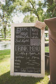 chalkboard wedding drink menu sign http://www.weddingchicks.com/2013/09/27/wisconsin-wedding/