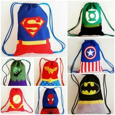 Heros Disney, Superhero Birthday Party, Kids Bags, Party Bags, Goodie Bags, Diy Clothes, Superman, Baby Gifts, Avengers