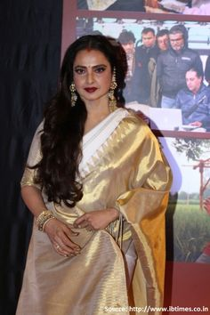 Woman of gold, #woman in gold, the ever reigning #Rekha once again mesmerizes us in a timeless #Kanchipuramsilksaree!