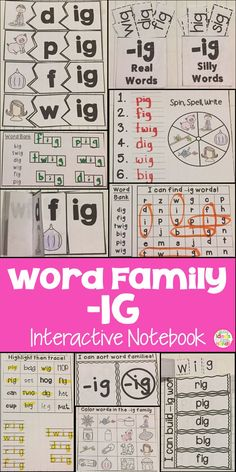 This is a Word Family Interactive Notebook to help students practice and learn CVC words and word families. There are 22 different activities for the word family -ig to help your students master the word family. You may choose which activities are best for your students. The activities include: - Sort by word family - Word Family Word Search - ABC Order - Roll, Write, Graph - Spin, Write, Graph - Real & Not Real Pockets - Building Words - Highlight then Trace - Color the Pictures