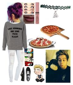 """Luke hemmings and some pizza slices"" by emmcg915 ❤ liked on Polyvore featuring Vans, NYX, Samsung, Nambé and Picnic Time"