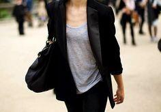 slouchy shirt with blazer