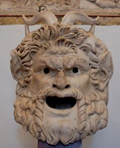 Early #theatre: Mask of a #satyr (oral performer) Marble, Roman artwork, 2nd century CE. #roman_satyr