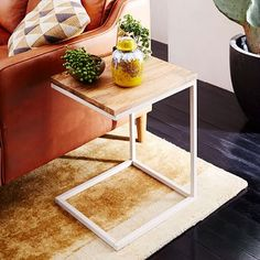 Box Frame C-Base Side Table - Raw Mango/White #westelm for bedroom - pair with cb2 bed