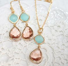 Pink Champagne and Mint Wedding Set: Earrings and Necklace, Peach Mint Teardrop Glass Golden Jewelry set, Bridal. $47.00, via Etsy.