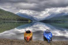 Kayaks On Bowman Lake