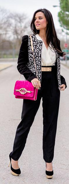Chaqueta leopardo blanco y negro Crimenes de la Moda - Mono AX Paris Jumpsuit - bolso Menbur bag - zapatos de tacón By Mare Shoes - chaqueta leopardo Mango leopard jacket - reloj Michael Kors watch