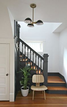 43 Ideas For Stairs Design Diy Staircase Makeover Black Stairs, Black Painted Stairs, White Staircase, Bannister Ideas Painted, Black Banister, Painted Stair Risers, House Staircase, Staircase Remodel, Spiral Staircase