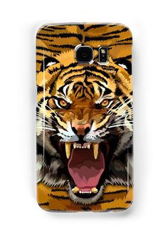 Tiger Roar Digital art Painting Samsung Galaxy Cases & Skins #Accessories #Case #cover #CellPhone #hardcover #hardcase  #abstract #lion #tiger #cat #bigcat #fur #beautiful #animal #aztec #jungle #puma #tarzan #pattern #gryffindor #narnia #stipes #tigerstripes #skins