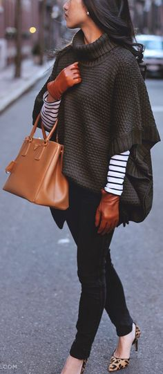 Brown knit poncho/jumper over white long sleeve striped top + black skinny jeans, leopard print heels and brown leather accessories