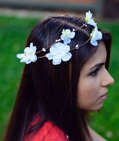 THE AVA  White Flower Crown Bridesmaid Prom Hippie by NaynaJewelry