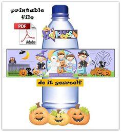 PDF - Water Bottle Labels for HALLOWEEN - Digital File - DIY