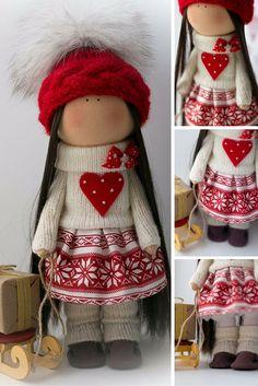 Love tilda doll Art doll Christmas doll handmade brunette red colors soft doll…