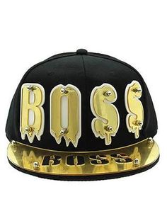 HAT AND CAP / BOSS / SNAPBACK / ACRYLIC LETTER / METAL BOLD SCREW / 80% COTTON 20% CHEMICAL FIBER / ADJUSTABLE / ONE SIZE