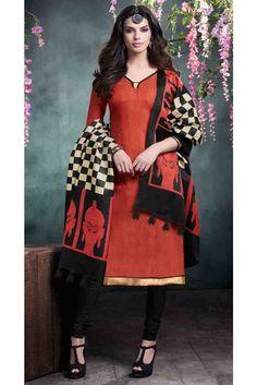 Gorgeous Red Bhagalpuri Silk Gota Patti Work Straight Salwar Kameez