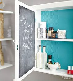 A hidden message written inside your medicine cabinet makes mornings even sunnier. It is also a great place for reminders. For the chalkboard panel, lightly sand the interior of the cabinet door if the vinyl doesn't automatically stick. Interior Paint Colors, Interior Painting, 3d Painting, Hacks, Living Room Paint, Living Rooms, Painted Doors, Cabinet Doors, Home Renovation