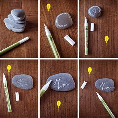 DIY-galets-marque-place-howto - Un Beau Jour Diy Wedding Dress, Diy Wedding Flowers, Art Bin, Diy Store, Theme Noel, Stone Crafts, Nature Crafts, My New Room, Diy Crafts To Sell