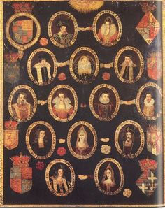 Painted genealogy showing James I's Tudor ancestry. Mary Stuart Queen of Scots James' mother is shown in the center of the second row holding hands to signify marriage first with Francis II and secondly with Lord Darnley father of James. Mary Queen Of Scots, Queen Mary, Princess Mary, Tudor History, British History, Uk History, European History, Dinastia Tudor, Tudor Rose