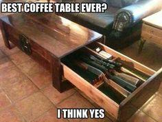 Coffee table gun holder