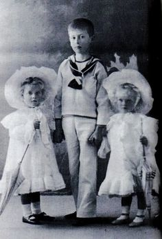 Princess Margarita (left) and Princess Theodora with their young uncle (their mother's brother) Prince Louis of Battenberg, later to become Lord Mountbatten.