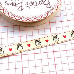 Owl and Heart Ribbon, 15mm £0.75