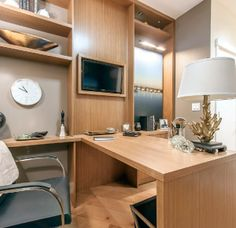 I like the way the space is separate but still fits in a small confined area. - Home Office space Your Neighbors, Home Office Space, Royce, Separate, Corner Desk, My House, Architecture, Inspiration, Furniture