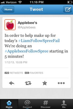 Awww Applebee's :) I love how they are really just directioners like us...lol