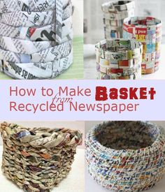 just throw those old new s papers right away. Recycle and turn them into useful baskets. DIY basket from news paper.Don't just throw those old new s papers right away. Recycle and turn them into useful baskets. DIY basket from news paper. Recycled Paper Crafts, Recycled Art Projects, Recycled Magazines, Craft Projects, Recycling Projects For School, Art From Recycled Materials, Craft Ideas, Newspaper Basket, Newspaper Crafts