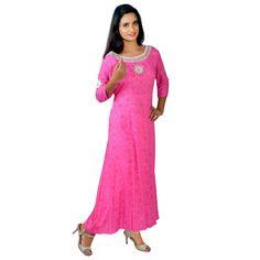 Pink Mirror Work Printed Kurti - Madhus World Mirror Work Kurti, Coloured Leggings, Pink Mirror, Printed Kurti, Mix N Match, Pink Color, Prints, Dresses, Fashion
