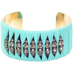 Turquoise crystal cuff ($375) ❤ liked on Polyvore featuring jewelry, bracelets, accessories, turquoise jewelry, crystal stone jewelry, crystal jewelry, crystal bangles and cuff jewelry