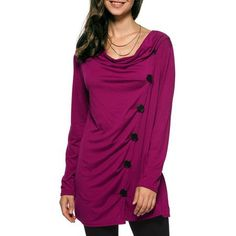 Cowl Neck Ruched Long Blouse