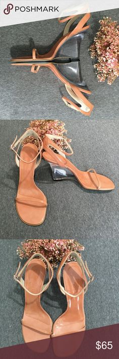 Calvin Klein Madge Beige Lucite Wedge Sandal Sleek and sexy these shoes blend in while making you stand out! Clear lucite wedge and beige/tan patent faux leather are perfect for a night out! Excellent condition, tiny mark on the inner sole and light wear on the bottom sole all as pictured! Calvin Klein Shoes Wedges