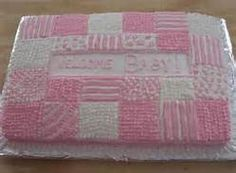 Pink Welcome Baby Cake Pink baby girl Shower Cake. Patchwork blanket with fringe. Patchwork Cake, Quilted Cake, Baby Shower Sheet Cakes, Baby Shower Cakes For Boys, Baby Shower Deco, Boy Shower, Baby Girl Cakes, Baby Boy, Pink Quilts