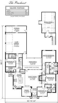 French Country Design, The Pinehurst, Has 2433 LA + 487 Bonus Room, Total · Madden  Home DesignBonus ...