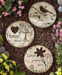 Set of 3 Sentiment Steppingstones Yard Garden Lawn Art Outdoor Home Decor in Home & Garden, Yard, Garden & Outdoor Living, Garden Décor, Stepping Stones | eBay